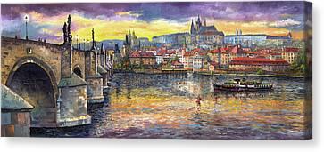 Prague Charles Bridge And Prague Castle With The Vltava River 1 Canvas Print by Yuriy  Shevchuk