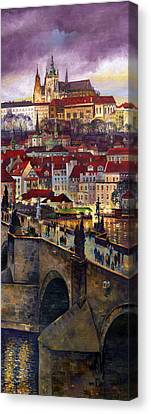 Prague Charles Bridge With The Prague Castle Canvas Print by Yuriy  Shevchuk