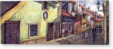 Prague Golden Line Street Canvas Print by Yuriy  Shevchuk