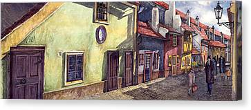 Prague Golden Line Street Canvas Print by Yuriy  Shevchuk