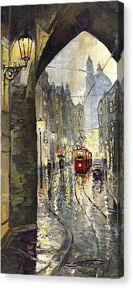 Prague Mostecka Street Canvas Print by Yuriy  Shevchuk