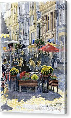 Prague Mustek First Heat Canvas Print by Yuriy  Shevchuk