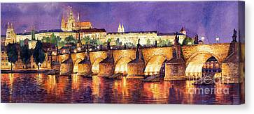 Prague Night Panorama Charles Bridge  Canvas Print by Yuriy  Shevchuk