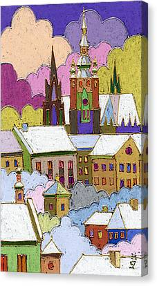 Prague Old Roofs Prague Castle Winter Canvas Print by Yuriy  Shevchuk