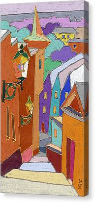 Prague Old Steps Winter Canvas Print by Yuriy  Shevchuk