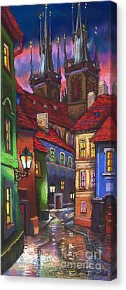 Prague Old Street 01 Canvas Print by Yuriy  Shevchuk