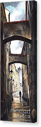 Prague Old Street 02 Canvas Print by Yuriy  Shevchuk