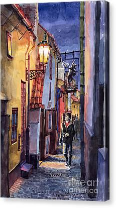 Prague Old Street Golden Line Canvas Print by Yuriy  Shevchuk