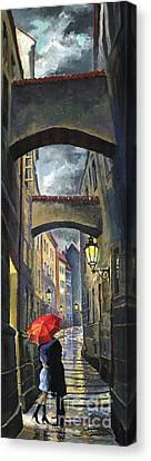 Prague Old Street Love Story Canvas Print by Yuriy  Shevchuk
