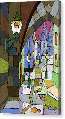 Prague Old Street Mostecka Canvas Print by Yuriy  Shevchuk