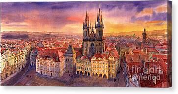 Prague Old Town Square 02 Canvas Print by Yuriy  Shevchuk