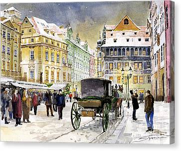 Prague Old Town Square Winter Canvas Print by Yuriy  Shevchuk