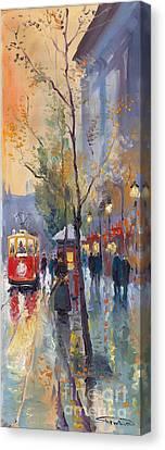 Prague Old Tram Vaclavske Square Canvas Print by Yuriy  Shevchuk