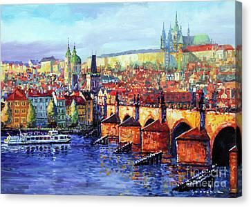 Prague Panorama Charles Bridge 07 Canvas Print by Yuriy Shevchuk