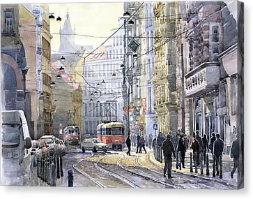 Prague Vodickova Str Canvas Print by Yuriy  Shevchuk