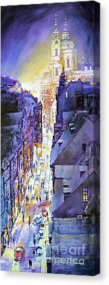 Praha Mostecka Str. Winter Evening Canvas Print by Yuriy Shevchuk
