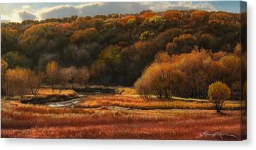 Prairie Autumn Stream No.2 Canvas Print by Bruce Morrison