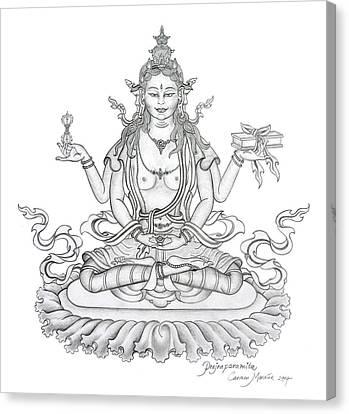 Prajnaparamita -perfection Of Wisdom Canvas Print by Carmen Mensink