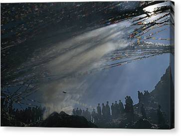Prayer Flags Are Raised During Losar Canvas Print by Maria Stenzel