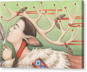 Prayer Of Elk Woman Canvas Print by Amy S Turner