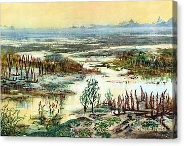 Prehistoric, Lower Devonian Landscape Canvas Print by Science Source