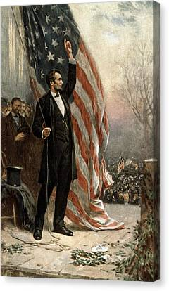 President Abraham Lincoln - American Flag Canvas Print by International  Images