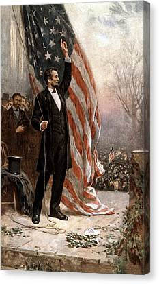 President Abraham Lincoln Giving A Speech Canvas Print by War Is Hell Store
