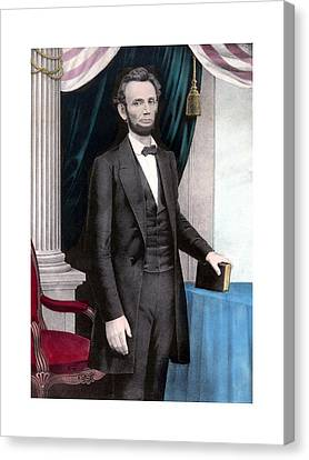 President Abraham Lincoln In Color Canvas Print by War Is Hell Store