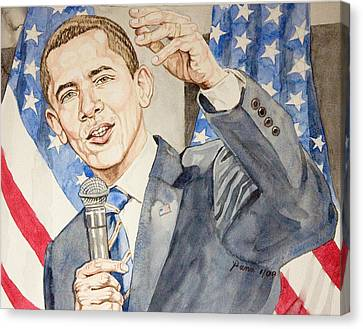 President Barack Obama Speaking Canvas Print by Andrew Bowers