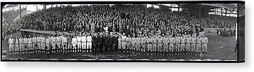President Coolidge And The Washington A.l. And New York N.l. World's Series Baseball Teams Canvas Print by Panoramic Images