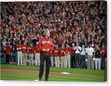 President George W. Bush Throws Canvas Print by Everett