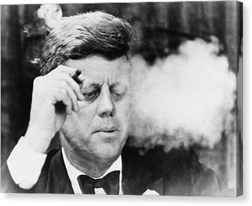 President John Kennedy, Smoking A Small Canvas Print by Everett