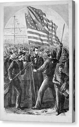 President Lincoln Holding The American Flag Canvas Print by War Is Hell Store