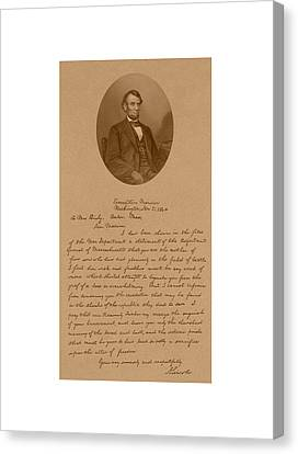 President Lincoln's Letter To Mrs. Bixby Canvas Print by War Is Hell Store