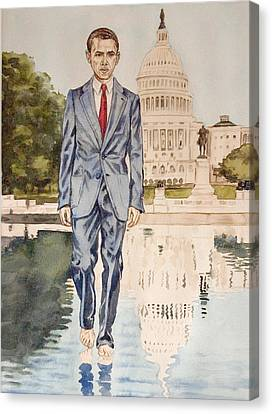 President Obama Walking On Water Canvas Print by Andrew Bowers