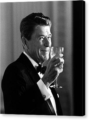 President Reagan Making A Toast Canvas Print by War Is Hell Store