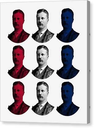 President Teddy Roosevelt - Red, White, And Blue Canvas Print by War Is Hell Store