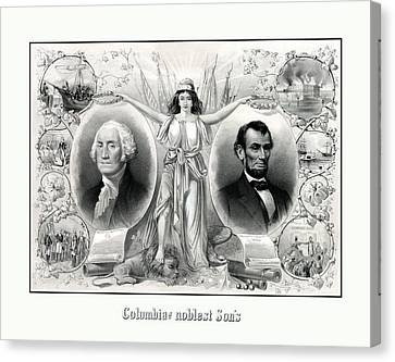 Presidents Washington And Lincoln Canvas Print by War Is Hell Store