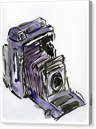 Press Camera Watercolor Canvas Print by Caffrey Fielding