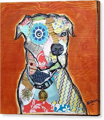 Pretty Boy Pitbull Canvas Print by Theresa Bendzius