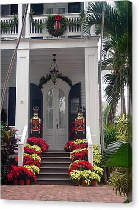 Pretty Christmas Decoration In Key West Canvas Print by Susanne Van Hulst