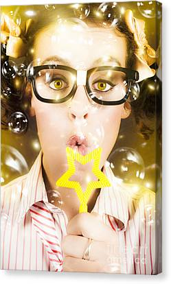 Pretty Geek Girl At Birthday Party Celebration Canvas Print by Jorgo Photography - Wall Art Gallery