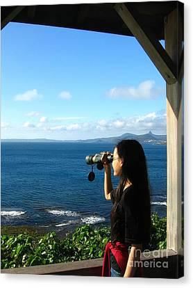 Pretty Girl Looking Through Binoculars Canvas Print by Yali Shi