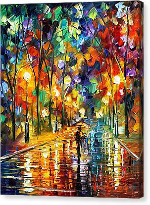Pretty Night - Palette Knife Oil Painting On Canvas By Leonid Afremov Canvas Print by Leonid Afremov