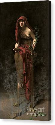 Priestess Of Delphi Canvas Print by John Collier