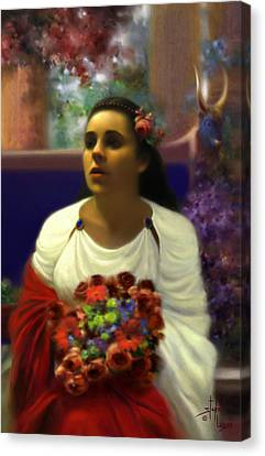 Priestess Of The Floral Temple Canvas Print by Stephen Lucas