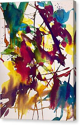 Primary Splatters Abstract  Canvas Print by Ellen Levinson