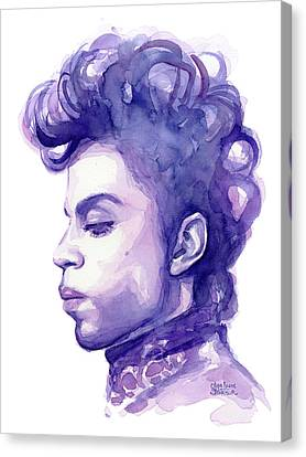 Prince Musician Watercolor Portrait Canvas Print by Olga Shvartsur