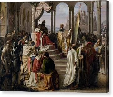 Prince Vladimir Chooses A Religion Canvas Print by Johann Leberecht Eggink