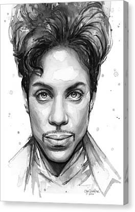 Prince Watercolor Portrait Canvas Print by Olga Shvartsur